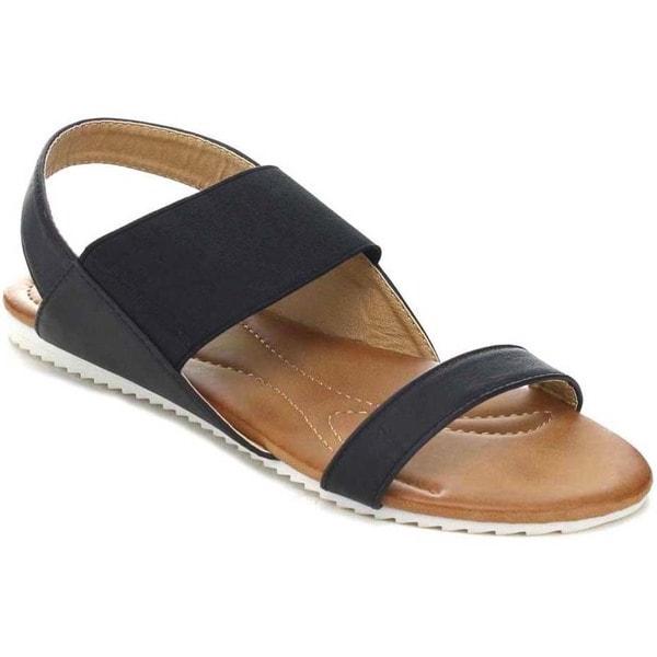 Nature Breeze Belinda-02 Women's Elastic Strap Two Tone Sole Flat Sandal