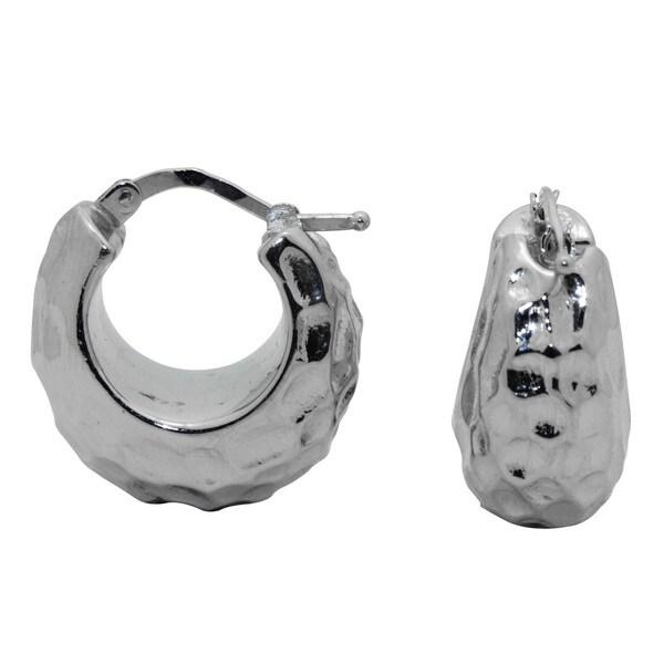 Gioelli Sterling Silver Goldplated Hammered Hoop Earrings