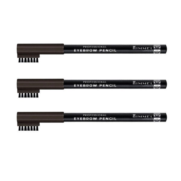 Rimmel Professional Black Brown 004 Eyebrow Pencil (Pack of 3)