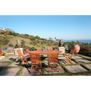 Vifah Malibu Eco-Friendly 7-Piece Wood Outdoor Dining Set with Foldable Chairs