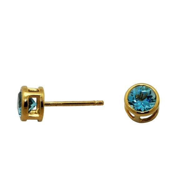 Gioelli 14k Yellow Gold 5.5mm Round Blue Topaz Stud Earrings