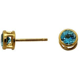 Gioelli 14k Yellow Gold 5.5mm Round Blue Topaz Stud Earrings