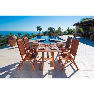 Vifah Malibu Eco-Friendly 5-Piece Wood Outdoor Dining Set with Folding Armchairs