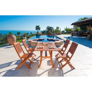 Vifah Malibu Eco-Friendly 5-Piece Wood Outdoor Dining Set with Folding Chairs