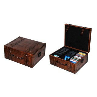 Vintage Style Leather Suitcase CD Case