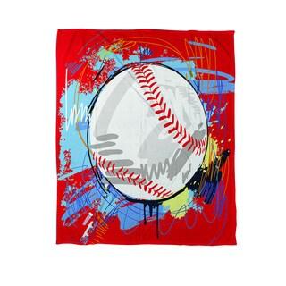 Thumbprintz Baseball Homerun Coral Fleece Throw