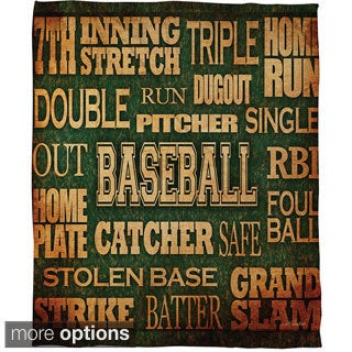 Thumbprintz Baseball Words Coral Fleece Throw
