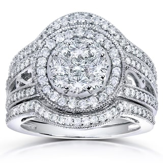 Annello 14k White Gold 1 5/8ct TDW Round Diamond 3-piece Split Shank Bridal Rings Set (H-I, I1-I2) with Bonus Item