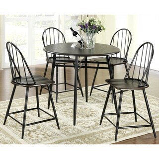 Shelbey Windsor 5-piece Black/ Cappucino Country Style Counter-height Dining Set
