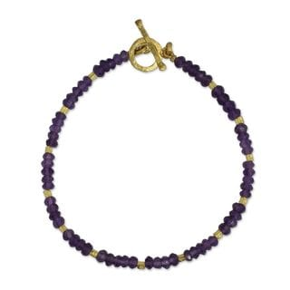 Gold Overlay 'Simply Captivated' Amethyst Bracelet (Thailand)