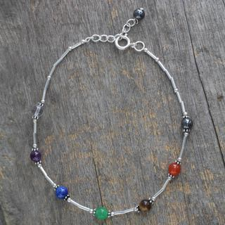 Sterling Silver 'Love's Health' Multi-gemstone Anklet (India)