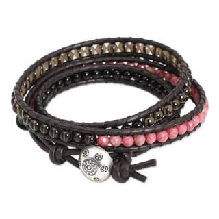 Silver Leather 'Elegant Enigma' Multi-gemstone Bracelet (Thailand)