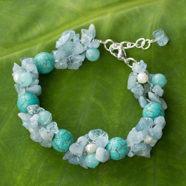 Handmade Pearl Multi-gemstone 'Cool Beauty' Bracelet (4-4.5 mm) (Thailand) 15210229