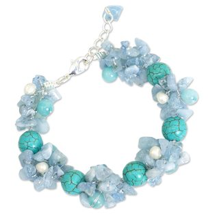Pearl Multi-gemstone 'Cool Beauty' Bracelet (4-4.5 mm) (Thailand)