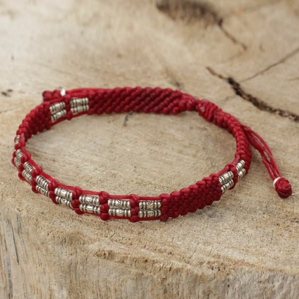 Handcrafted Silver 'Affinity in Red' Bracelet (Thailand)