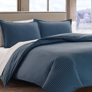Eddie Bauer Dusted Indigo Pinstripe Cotton Sateen 3-piece Duvet Cover Set