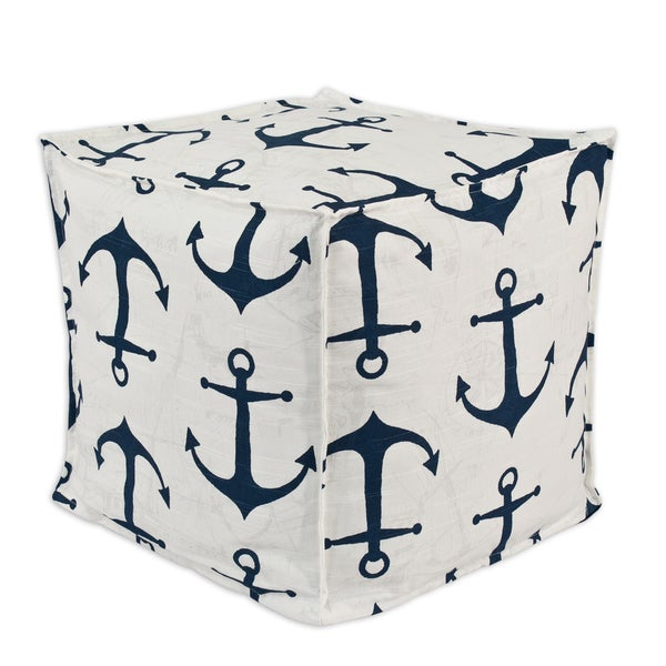 Somette Anchors Premier/ Navy Slub Square Squish Pouf
