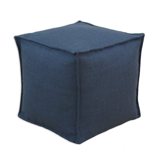 Somette Burlap Navy Square Seamed Beads Ottoman