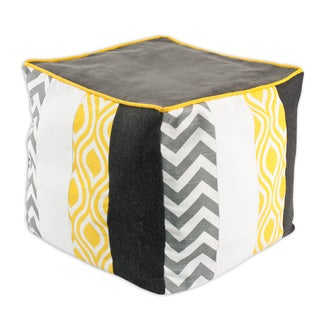 Somette Grey, White, Yellow Vertical Striped 17-inch Ottoman