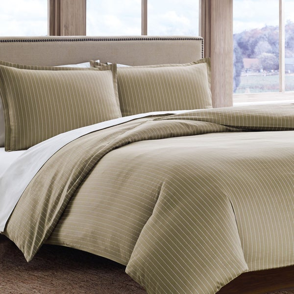 Eddie Bauer Oyster Pinstripe Cotton Sateen 3-piece Duvet Cover Set