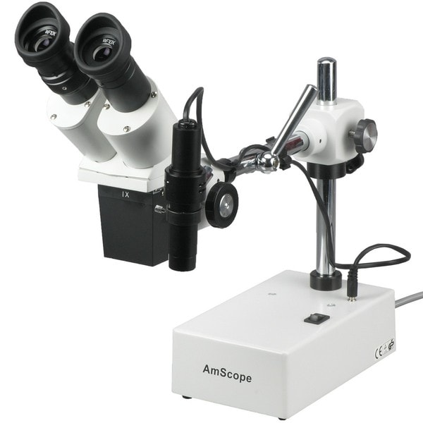 AmScope 10X and 20X Widefield Stereo Microscope with Incident Light and Boom Arm Stand