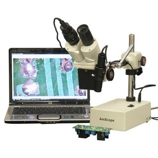 AmScope 20X and 40X Boom Arm Stereo Microscope with Side Light and Digital Camera