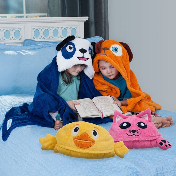 Bright Eyes Soft and Fuzzy Hooded Childrens Blanket Wrap (Set of 4 Animals)