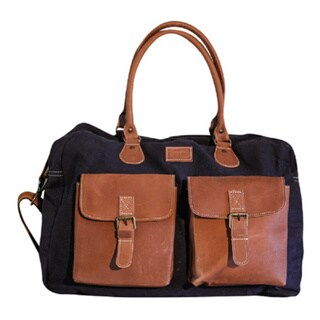 Sharo CL-1000 Navy Blue Canvas and Brown Leather Travel Carry-on Bag with Strap