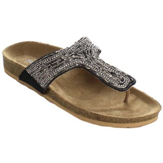 Soda Grandee Women's Beaded Footbed Flip-Flop Shoes