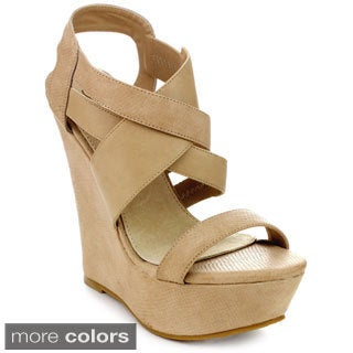 DBDK MAUREEN-1 Women's Ankle Strap Crossing Slingback Platform Wedges
