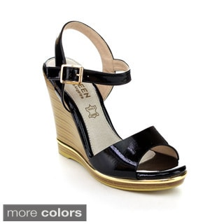 Kayleen DAYLA-4 Women's Ankle Strap Metallic Stacked Heel Wedges
