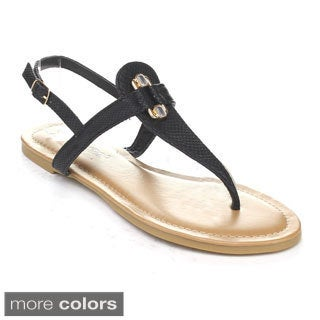DBDK ELVIRA-4 Women's Slingback Thong Flat Heel T-Strap Sandals