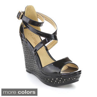 DBDK CREE-3 Women's Ankle Strap Crossing Platform Wedges