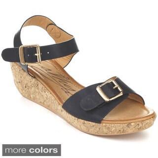 Cathy Din U.S.A. AKELA-1 Women's Buckle Ankle Strap Wedges
