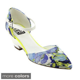 Bumper DOLLY-08 Women's Floral Print Ankle Strap Heels