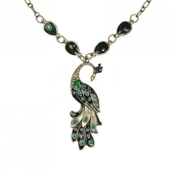 Handmade Green Peacock Necklace (China)