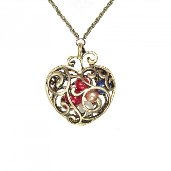 Handmade Copper Alloy Heart Necklace (China) 15212250