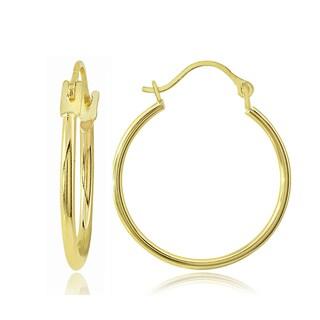 Mondevio 14K Gold 1.3mm Round Hoop Earrings, 20mm