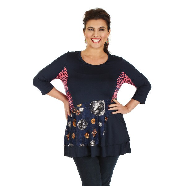 Firmiana Women's Plus Size 3/4 Sleeve Blue Multi Color Layered Top
