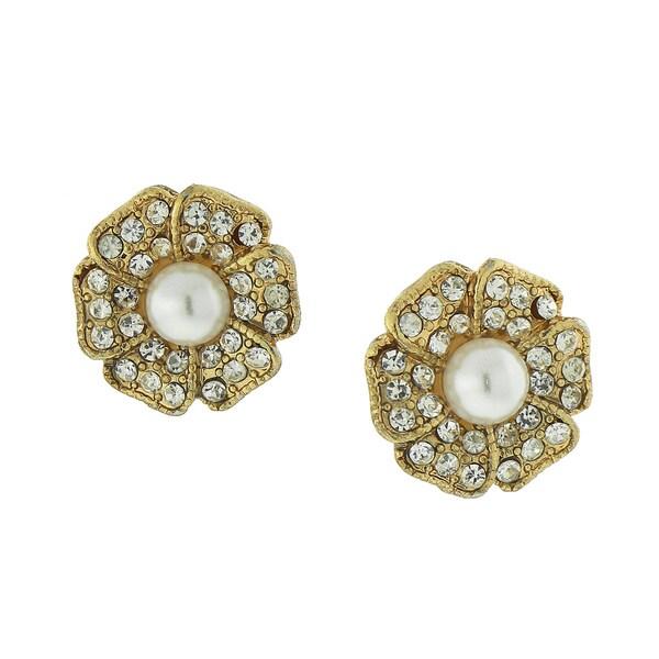 1928 Jewlery Goldtone Crystal/ Simulated Pearl Petal Perfect Flower Stud Earrings