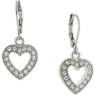 1928 Jewelry Silvertone Crystal Heart Drop Earrings
