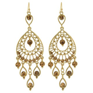 1928 Jewelry Gorgeous Goldtone Topaz Color Crystal Filigree Statement Earrings