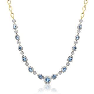 Dolce Giavonna Gold Over Sterling Silver London Blue Topaz Necklace