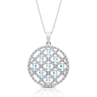 Dolce Giavonna Silver Overlay Blue Topaz and Cubic Zirconia Medallion Necklace