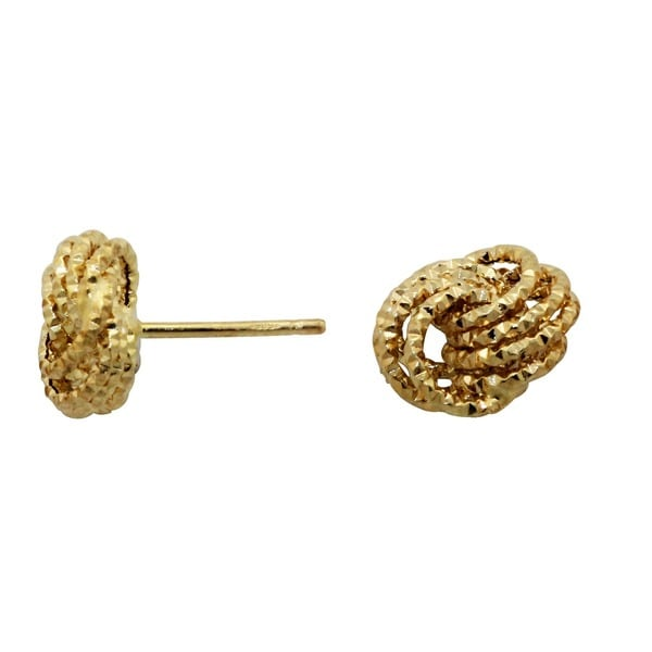 14K Yellow Gold Large Multi-strand Love Knot Stud Earrings