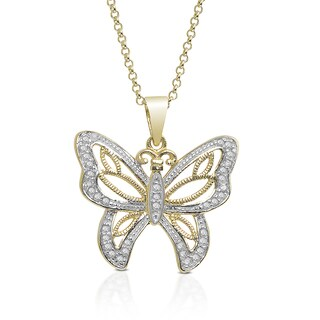 Finesque Gold Over Sterling Silver 1/5ct TDW Diamond Butterfly Necklace (I-J, I2-I3)