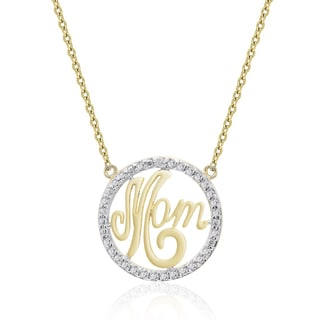 Finesque Gold Overlay Diamond Accent 'Mom' Necklace (I-J, I2-I3)