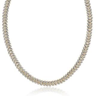 Finesque Gold Overlay 1/10ct TDW Diamond Leaf Necklace (I-J, I2-I3)