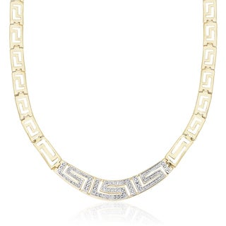 Finesque Gold Overlay 1/10ct TDW Diamond Greek Key Necklace (I-J, I2-I3)