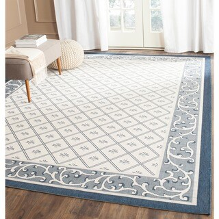 Safavieh Indoor/ Outdoor Courtyard Beige/ Navy Rug (9' x 12')
